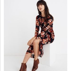 Madewell Shirred Midi Dress in French Rose XXS